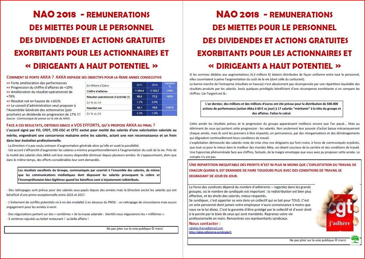 NAO 2018 - Rémunérations - Des miettes pour le personnel, des dividendes et actions gratuites exorbitants pour les actionnaires et  « dirigeants à haut potentiel »