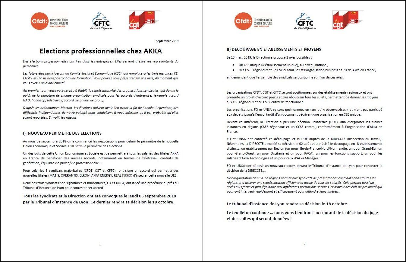 Septembre 2019 – Elections professionnelles chez AKKA CFDT-CGT-CFTC